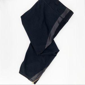 Old Navy Active Black Leggings Faux Leather Trim